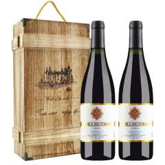 法国原酒进口红酒 珍藏级干红葡萄酒 750ml*2瓶(双支木盒装)