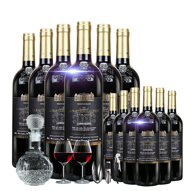 法国进口红酒拉昂黑金干红葡萄酒750ml 12支装