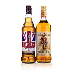 金铃喜乐威士忌700ml+摩根船长朗姆酒700ml(洋酒基酒实用组合)