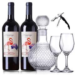 澳大利亚原酒进口红酒 火烈鸟干红葡萄酒双支送醒酒器套装750ml*2瓶
