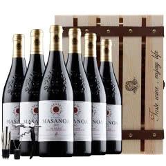 法国原酒进口红酒 12度雕花加重瓶干红葡萄酒750ml*6支木箱礼盒装