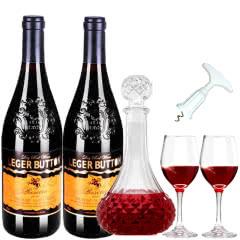 法国朗格巴顿原酒进口红酒赤霞珠干红葡萄酒送醒酒器酒具四件套装750ml*2