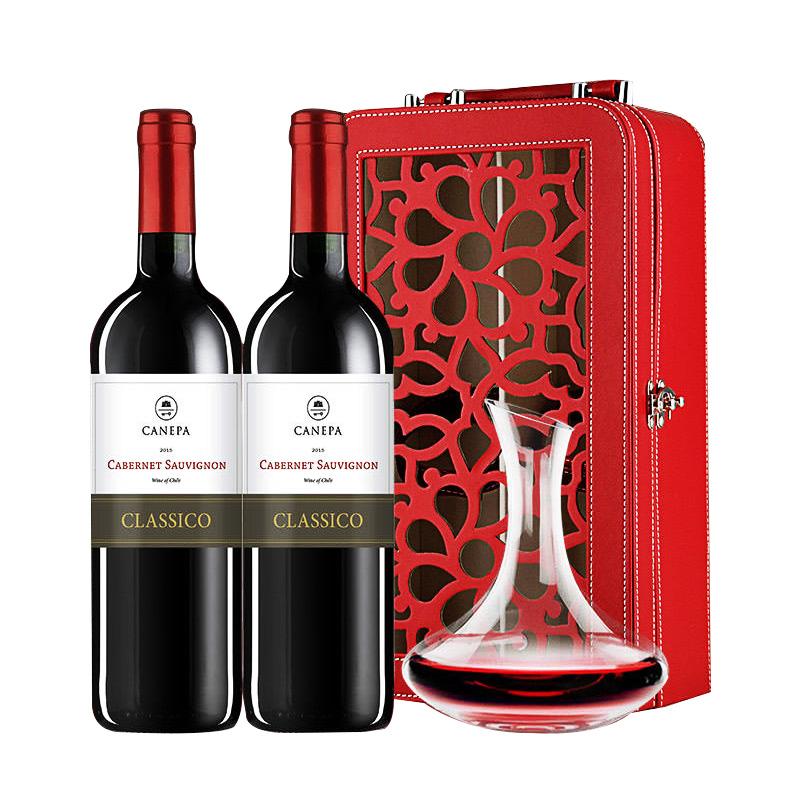 【礼盒】智利原瓶进口红酒 卡内奇经典赤霞珠双支礼盒装750ml*2