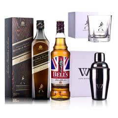 40°英国尊尼获加醇黑+40°英国金铃喜乐致醇(调配苏格兰威士忌 700ml*2+摇酒壶+五角杯)