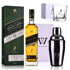 43°英国尊尼获加绿牌(绿方)15年调配麦芽苏格兰威士忌 750ml+尊尼获加五角杯+摇酒壶