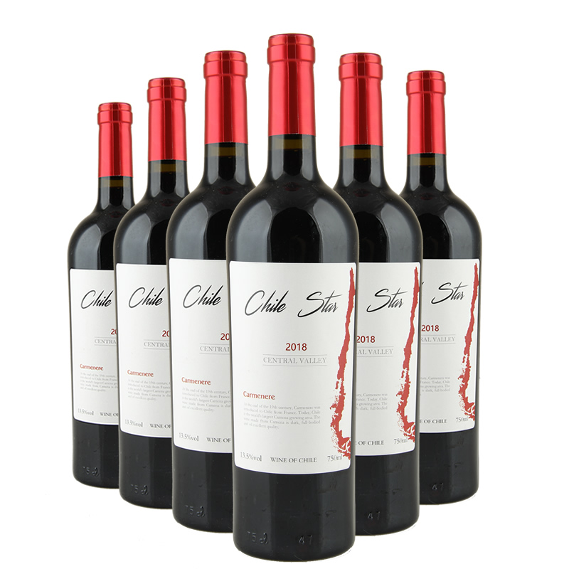 智利葡萄酒进口红酒智利经典佳美娜干红葡萄酒整箱750mlX6