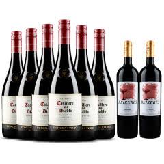 红魔鬼葡萄酒 智利原装原瓶进口红酒六支装 黑皮诺 750ml*6