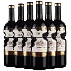 【买二得三】法国进口红酒14度索德古堡珍藏干红葡萄酒天使之手艺术瓶750ml*6