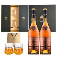 法国原瓶进口雅旭堡蒙博纳VSOP特选白兰地700ml洋酒礼盒两支装40度烈酒