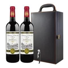 法国原瓶原装进口红酒 AOP级波尔多法定产区干红葡萄酒750ml*2(皮箱礼盒箱)