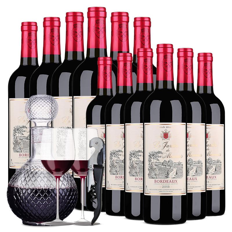 法国进口红酒莫奈庄园波尔多AOP干红葡萄酒750ml *12超值装