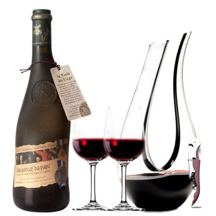 法国原瓶进口红酒教皇新堡芙华隆河丘产区AOC级干红葡萄酒红酒单支装750ml