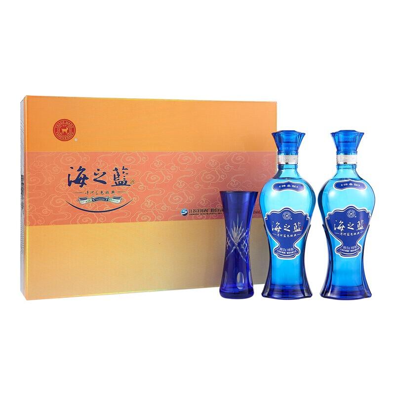 42°洋河蓝色经典海之蓝礼盒装浓香型白酒 480ml(2瓶装)