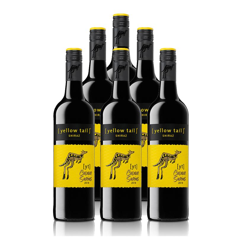 澳大利亚整箱红酒黄尾袋鼠缤纷系列西拉红葡萄酒750ml*6