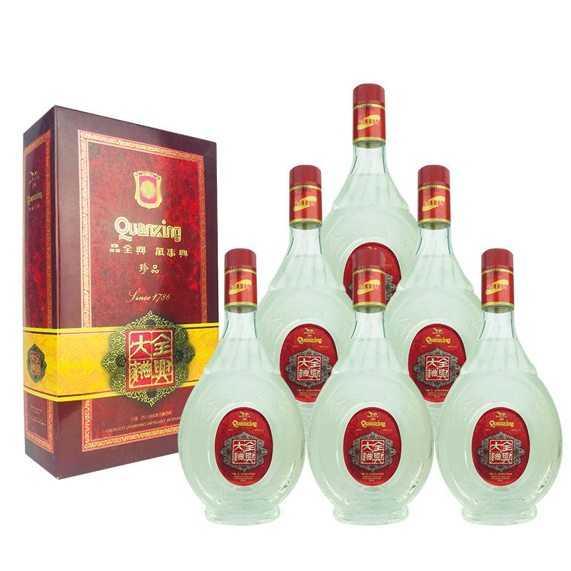 融汇陈年老酒 52º全兴大曲酒礼盒500ml(6瓶装)1999年
