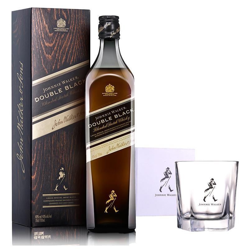 40°英国尊尼获加黑方(醇黑)调配苏格兰威士忌 700ml+五角杯266ml