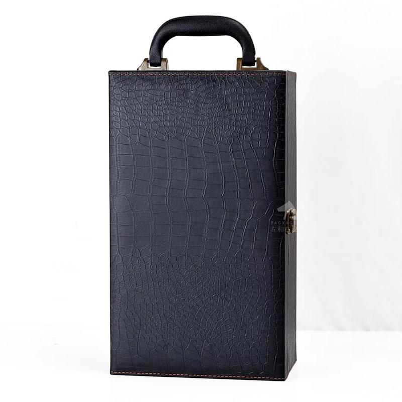 【仅礼盒,无酒】双支装通用红酒皮质礼盒\葡萄酒包装皮箱\红酒礼盒(无酒具)