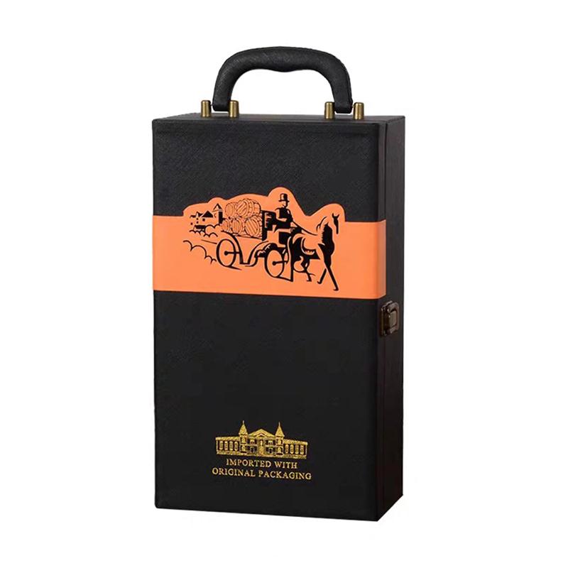 【仅礼盒,无酒】双支装通用红酒皮质礼盒\葡萄酒包装皮箱\红酒礼盒(有酒具)