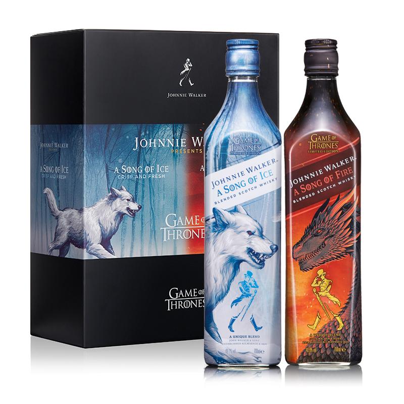 尊尼获加(JOHNNIE WALKER)洋酒 双支礼盒装 苏格兰进口调配威士忌700ml*2(权力的游戏-冰版&火版)
