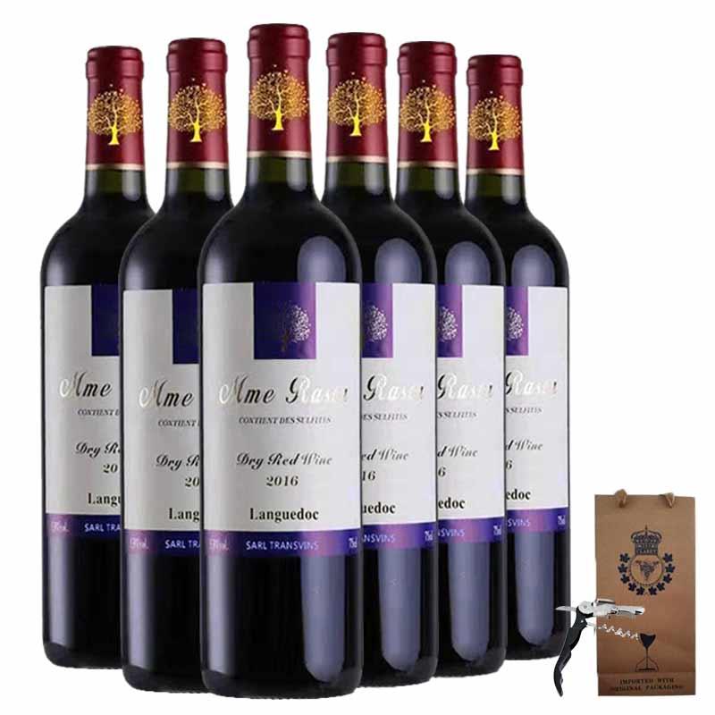 法国原瓶进口红酒 朗格多克产区 拉斯塔那干红葡萄酒红酒整箱装750ml*6