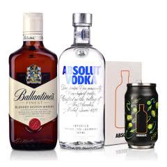 40°英国百龄坛特醇苏格兰威士忌500ml+40°瑞典绝对伏特加原味500ml