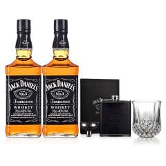 40°美国杰克丹尼700ml Jack Daniels(双瓶)+不锈钢酒壶+钻石威士忌杯