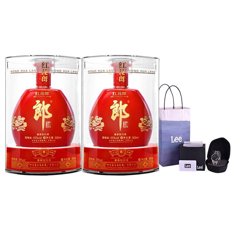 53°郎酒红花郎红钻500ml(双瓶装)+LEE手表 复古潮流男表