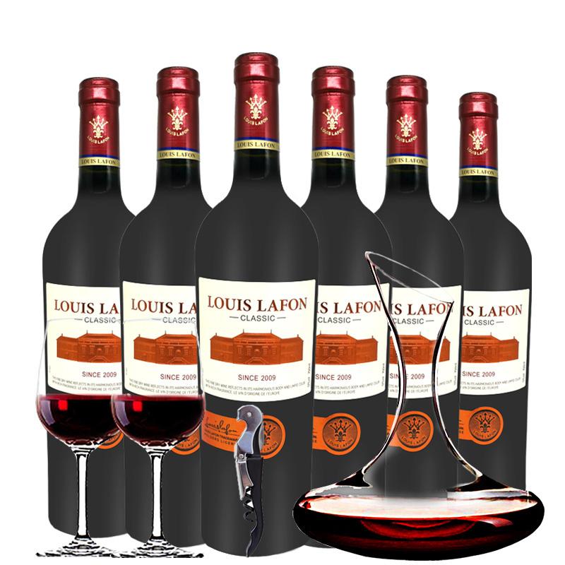 路易拉菲Louis Lafon原酒进口2009干红葡萄酒整箱醒酒器750ml*6