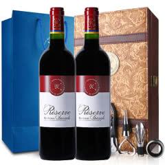 法国红酒法国拉菲珍藏波尔多法定产区红葡萄酒双支礼盒 750ml*2