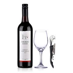 【包邮】澳大利亚原瓶进口红酒桉柏卡本妮西拉梅洛红葡萄酒750ml+酒具套装