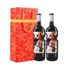 法国原酒进口甜红葡萄酒天使之手艺术瓶红酒750ml*2瓶礼盒