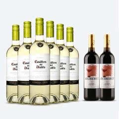 红魔鬼葡萄酒 智利原装原瓶进口红酒六支装  苏维翁 白葡萄酒 年份随机 750ml*6