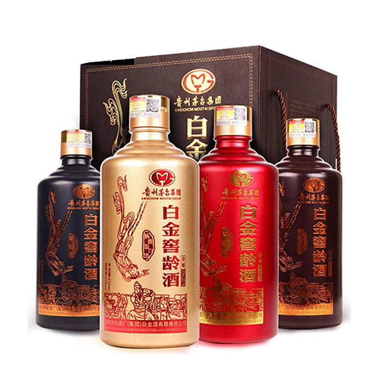 53°茅台集团白金酒公司 白金窖龄酒金尊 酱香型白酒 425ml*4瓶 整箱礼盒装 送礼装