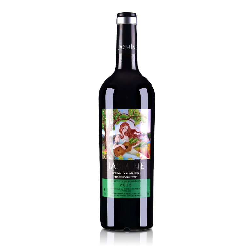 【包邮】法国原瓶进口红酒2015年份茉莉花超级波尔多干红葡萄酒750ml
