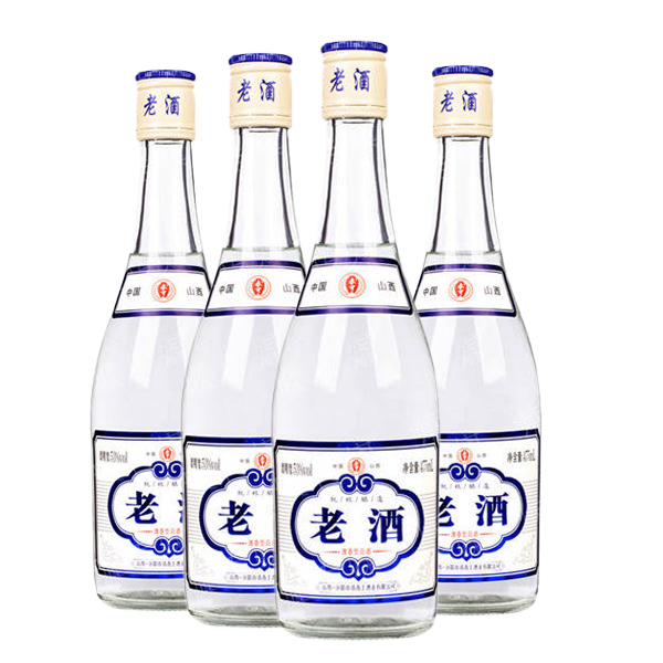 53°老酒杏花村汾酒产地清香型粮食高粱酒白酒整箱53度高度白酒475mL*4瓶