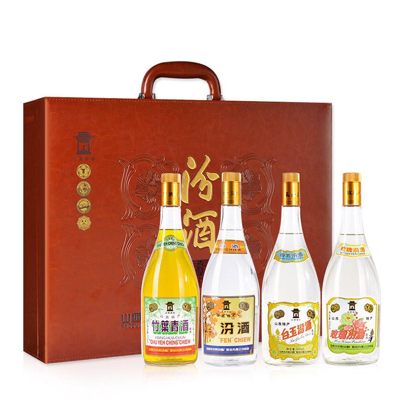 山西杏花村汾酒 清香四合汾酒950ml*4瓶礼盒装 汾竹白玫套装
