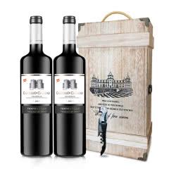 【礼盒装包邮】拉维纳庄园原瓶进口珍酿凯道城堡丹魄红酒2017干红葡萄酒礼盒木盒装750*2