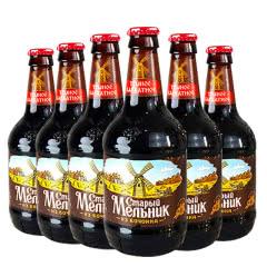 俄罗斯进口啤酒 粮食精酿啤酒进口黑啤玻璃瓶450ml(6瓶装)