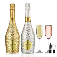 【送2个香槟杯】红酒白起泡酒甜型气泡酒女士葡萄酒果酒荔枝味750ml+原味750ml