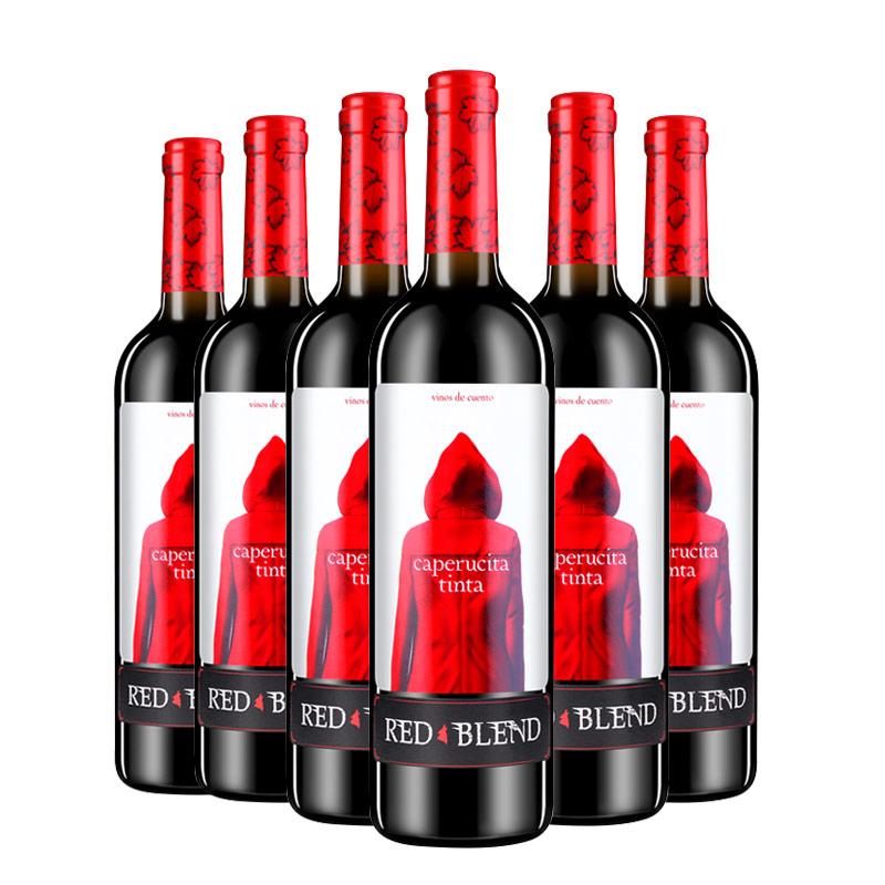 小红帽干红葡萄酒6支 欧洲网红酒 西班牙进口 DO级