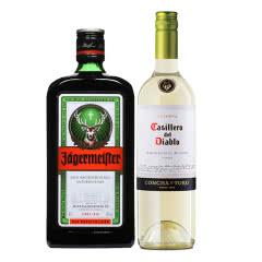 35°德国野格酒野格利口酒(配制酒)700ml+红魔鬼苏维翁白750ml