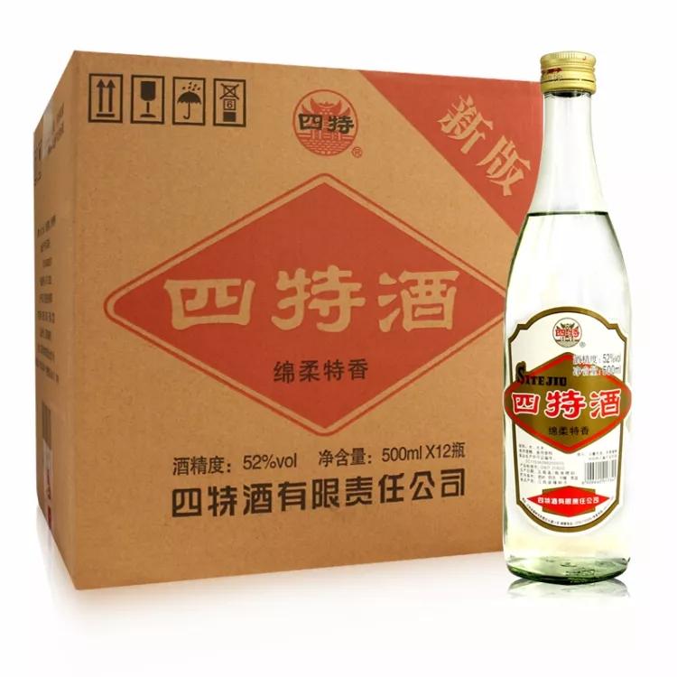 52°四特酒 高度白酒  光瓶酒 特香型 四特连四 白酒整箱 500ml*12瓶装