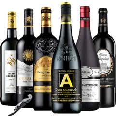 法国原瓶进口红酒波尔多AOC/AOP干红葡萄酒750ml*6组合套装