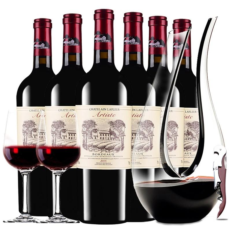 法国进口红酒 拉斐艺术家城堡AOP干红葡萄酒 红酒整箱醒器装750ml*6瓶