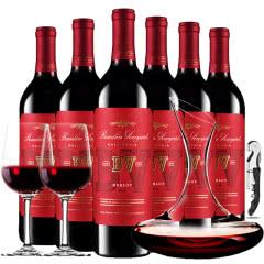璞立酒庄加州系列梅洛红葡萄酒美国原瓶进口红酒整箱装750ml*6