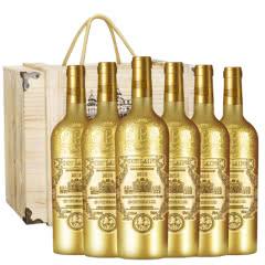 法国进口红酒德望圣堡公爵干红葡萄酒原酒进口雕花重型鎏金瓶750ml*6(红酒礼盒)