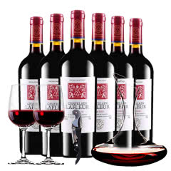 法国原酒进口红酒干红葡萄酒拉斐庄园特藏干红葡萄酒醒酒器装 750ml*6