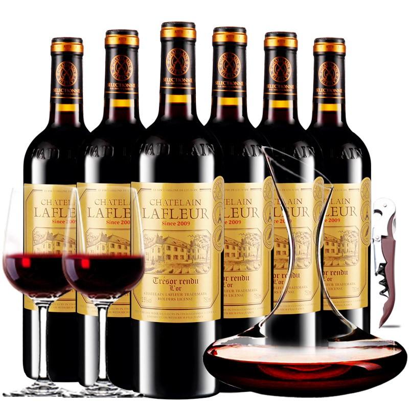 拉斐庄园2009传世干红原酒进口红酒葡萄酒 750ml*6瓶红酒 整箱 醒酒器装