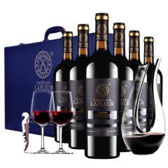 法国进口红酒拉斐庄主花园干红葡萄酒红酒整箱礼盒装送醒酒器750ml*6