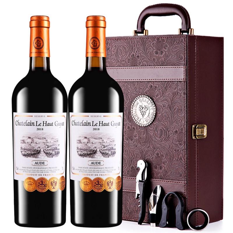 张裕先锋红乐高贵族城堡庄主珍藏干红葡萄酒法国原瓶进口 双支礼盒装750ml*2